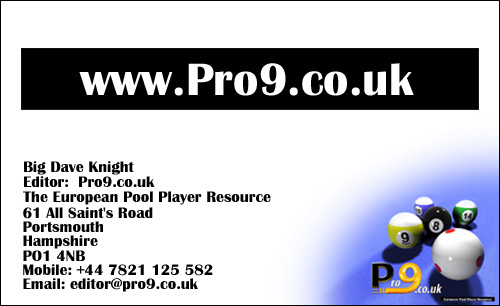 www.Pro9.co.uk - The web site for professional pool in Europe.