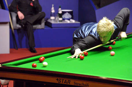 Champion twelve months ago, Neil Robertson will again take some serious stopping (with thanks to Monique Limbo for all photos in this piece)